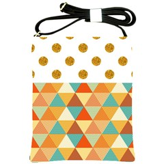 Golden Dots And Triangles Patern Shoulder Sling Bags by TastefulDesigns