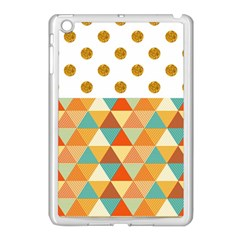 Golden Dots And Triangles Patern Apple Ipad Mini Case (white) by TastefulDesigns