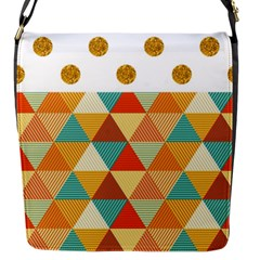 Golden Dots And Triangles Patern Flap Messenger Bag (s) by TastefulDesigns