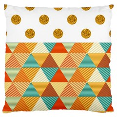 Golden Dots And Triangles Patern Large Flano Cushion Case (one Side) by TastefulDesigns