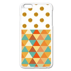 Golden Dots And Triangles Patern Apple Iphone 6 Plus/6s Plus Enamel White Case by TastefulDesigns