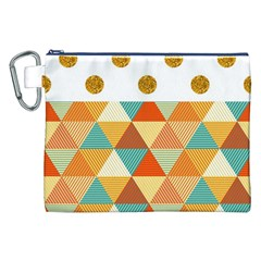 Golden Dots And Triangles Patern Canvas Cosmetic Bag (xxl) by TastefulDesigns