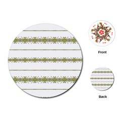 Ethnic Floral Stripes Playing Cards (round)  by dflcprints