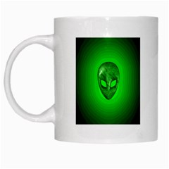 Green Alien White Mug, mug016 by jrmollerA