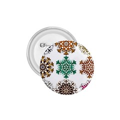 A Set Of 9 Nine Snowflakes On White 1 75  Buttons by Amaryn4rt