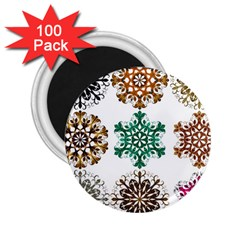 A Set Of 9 Nine Snowflakes On White 2 25  Magnets (100 Pack)  by Amaryn4rt