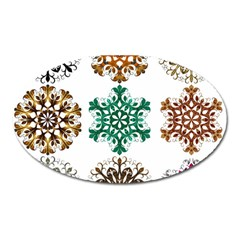 A Set Of 9 Nine Snowflakes On White Oval Magnet by Amaryn4rt