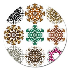 A Set Of 9 Nine Snowflakes On White Magnet 5  (round) by Amaryn4rt