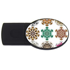 A Set Of 9 Nine Snowflakes On White Usb Flash Drive Oval (2 Gb) by Amaryn4rt