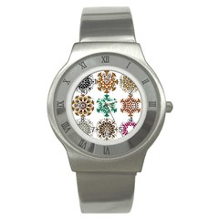 A Set Of 9 Nine Snowflakes On White Stainless Steel Watch by Amaryn4rt
