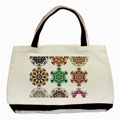 A Set Of 9 Nine Snowflakes On White Basic Tote Bag by Amaryn4rt
