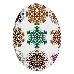 A Set Of 9 Nine Snowflakes On White Oval Ornament (two Sides) by Amaryn4rt