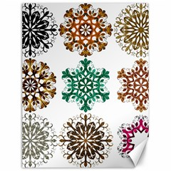 A Set Of 9 Nine Snowflakes On White Canvas 12  X 16   by Amaryn4rt