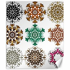 A Set Of 9 Nine Snowflakes On White Canvas 20  X 24   by Amaryn4rt