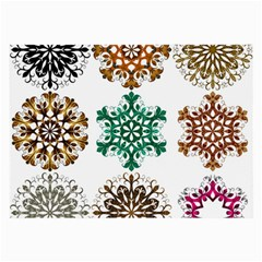 A Set Of 9 Nine Snowflakes On White Large Glasses Cloth