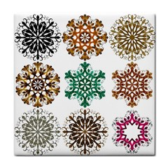 A Set Of 9 Nine Snowflakes On White Face Towel by Amaryn4rt