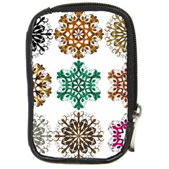 A Set Of 9 Nine Snowflakes On White Compact Camera Cases by Amaryn4rt