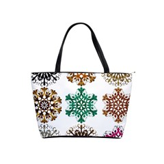 A Set Of 9 Nine Snowflakes On White Shoulder Handbags by Amaryn4rt