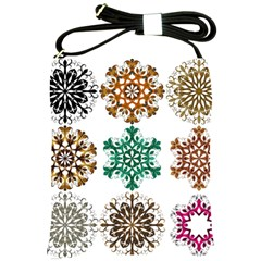 A Set Of 9 Nine Snowflakes On White Shoulder Sling Bags by Amaryn4rt