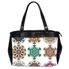 A Set Of 9 Nine Snowflakes On White Office Handbags (2 Sides)  by Amaryn4rt