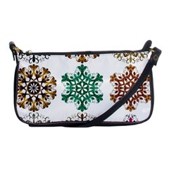 A Set Of 9 Nine Snowflakes On White Shoulder Clutch Bags by Amaryn4rt