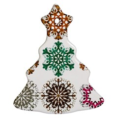 A Set Of 9 Nine Snowflakes On White Ornament (christmas Tree)  by Amaryn4rt