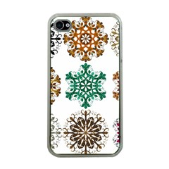 A Set Of 9 Nine Snowflakes On White Apple Iphone 4 Case (clear) by Amaryn4rt