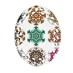 A Set Of 9 Nine Snowflakes On White Oval Filigree Ornament (two Sides) by Amaryn4rt