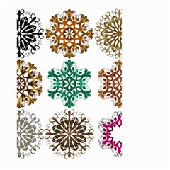 A Set Of 9 Nine Snowflakes On White Large Garden Flag (two Sides) by Amaryn4rt