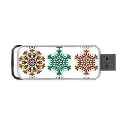 A Set Of 9 Nine Snowflakes On White Portable Usb Flash (two Sides) by Amaryn4rt