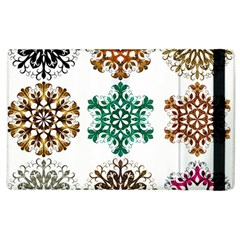 A Set Of 9 Nine Snowflakes On White Apple Ipad 3/4 Flip Case by Amaryn4rt