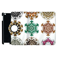 A Set Of 9 Nine Snowflakes On White Apple Ipad 2 Flip 360 Case by Amaryn4rt