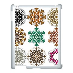 A Set Of 9 Nine Snowflakes On White Apple Ipad 3/4 Case (white) by Amaryn4rt