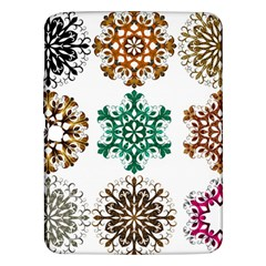 A Set Of 9 Nine Snowflakes On White Samsung Galaxy Tab 3 (10 1 ) P5200 Hardshell Case