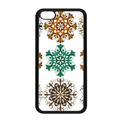 A Set Of 9 Nine Snowflakes On White Apple Iphone 5c Seamless Case (black) by Amaryn4rt