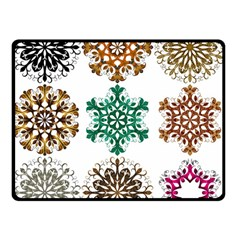 A Set Of 9 Nine Snowflakes On White Double Sided Fleece Blanket (small)  by Amaryn4rt