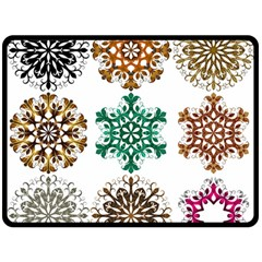 A Set Of 9 Nine Snowflakes On White Double Sided Fleece Blanket (large)  by Amaryn4rt
