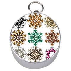 A Set Of 9 Nine Snowflakes On White Silver Compasses