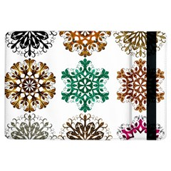 A Set Of 9 Nine Snowflakes On White Ipad Air Flip by Amaryn4rt