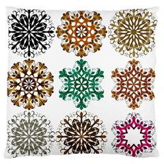 A Set Of 9 Nine Snowflakes On White Standard Flano Cushion Case (two Sides)