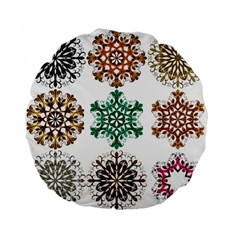 A Set Of 9 Nine Snowflakes On White Standard 15  Premium Flano Round Cushions by Amaryn4rt