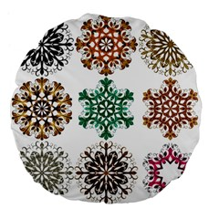 A Set Of 9 Nine Snowflakes On White Large 18  Premium Flano Round Cushions by Amaryn4rt
