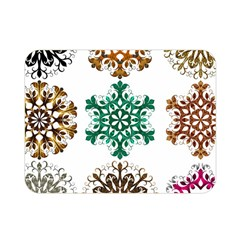 A Set Of 9 Nine Snowflakes On White Double Sided Flano Blanket (mini)  by Amaryn4rt