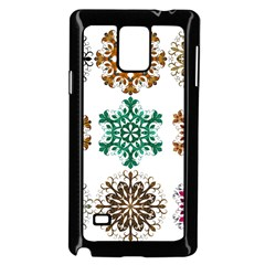 A Set Of 9 Nine Snowflakes On White Samsung Galaxy Note 4 Case (black)