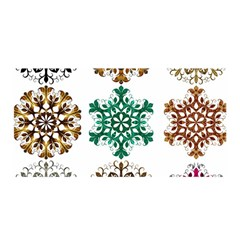 A Set Of 9 Nine Snowflakes On White Satin Wrap by Amaryn4rt