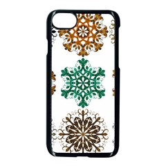 A Set Of 9 Nine Snowflakes On White Apple Iphone 7 Seamless Case (black) by Amaryn4rt