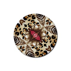 Animal Tissue And Flowers Rubber Coaster (round)  by Amaryn4rt