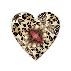 Animal Tissue And Flowers Heart Magnet by Amaryn4rt