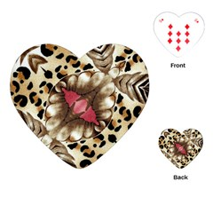 Animal Tissue And Flowers Playing Cards (heart)  by Amaryn4rt