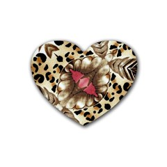 Animal Tissue And Flowers Heart Coaster (4 Pack)  by Amaryn4rt